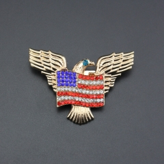 America flag eagle crystal alloy pin brooch for wedding gift