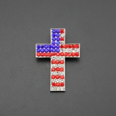 America flag jesus cross crystal alloy pin brooch for gift , party