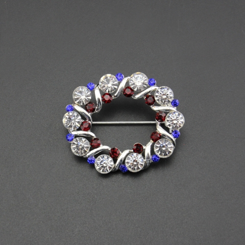 garland crystal circle alloy pin brooch for wedding gift , party