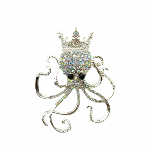 Women's Austrian Crystal Lovely Octopus Animal Brooch