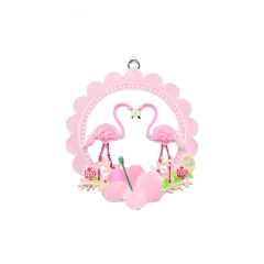 Accept customized,New Design Enamel Flamingo Charm Pendant