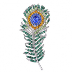 "2.75"" 100pcs Art Deco Silvery Tone Peacock Feather Pin Brooch With Green Blue & Golden Crystal Rhinestones"