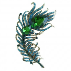 "4.33"" 100pcs Blue Rhinestone Crystal Peacock Feather Brooch Pin Pendant"