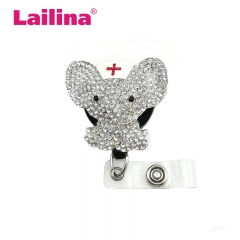 Sparkly Rhinestone Crystal Animal Elephant Medical Doctor Nurse Retractable ID Badge Reel Holder
