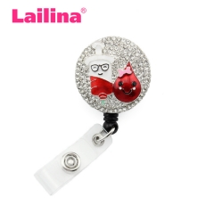 Medical Teardrop Syringe Rhinestone Retractable Reel/ID Badge Holder