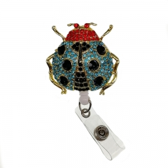 Sparkling Animal Ladybug Rhinestone Retractable Reel/ID Badge Card