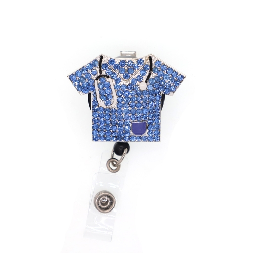 Blue overalls for doctors and nurses id badge reel