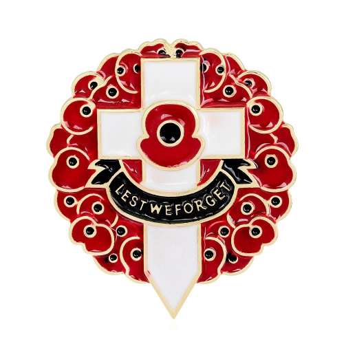 Poppy cross brooch