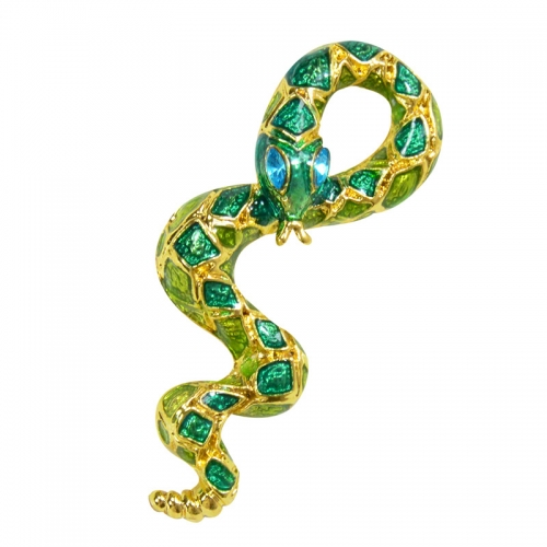 European and American Personality Fashion Clothing Enamel Snake Brooch Drop Oil Painted Animal Brooch Pin