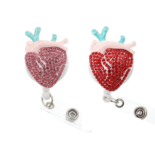 Free Shipping New Design Heart Medical Nurse Rhinestone ID Badge Reel