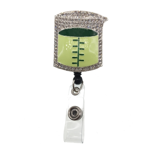 Hot Sale New Design Green Cup Medical Nurse Rhinestone ID Badge Reel