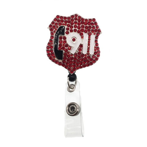 Hot Sale New Design Red 911 Medical Nurse Rhinestone ID Badge Reel