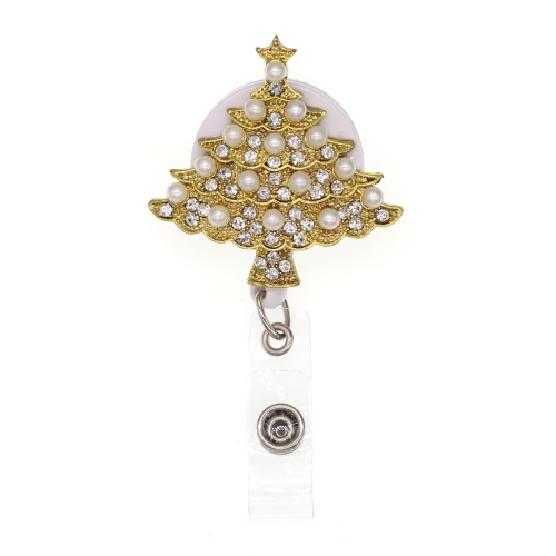 Golden Christmas Tree ID Badge Reel