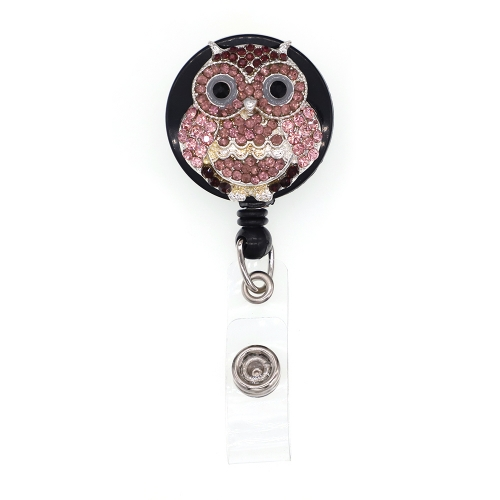 Lotus Purple Owl ID Badge Reel