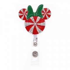 Christmas Mouse Head ID Badge Reel