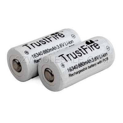 TrustFire 16340 RCR123A 880mAh Li-ion Recharbeable Protected Battery (2PCS)