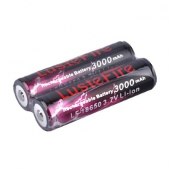 LusteFire 18650 3000mAh Li-ion Recharbeable Protected Battery (2PCS)