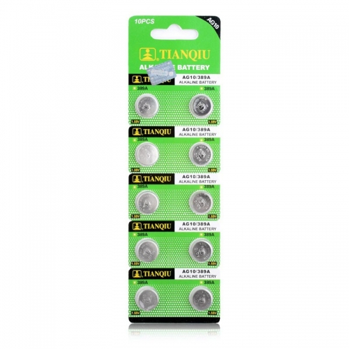 50 pcs of AG10 389A 1.55V Button Cell Alkaline Battery ECOS