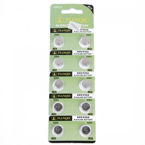 50 pcs of AG9/936A LR45 394 L936 AG9 1.55V Alkaline Button Cell Coin Battery