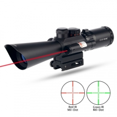 Tactical 3.5-10X40 Red/Green Mil-Dot Rifle Scope Red Laser Sight Fit Picatinny Rail