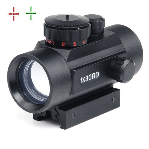 Rifle Scope 1x30mm Red Dot Reticle Sight with Weaver Picatinny Mount
