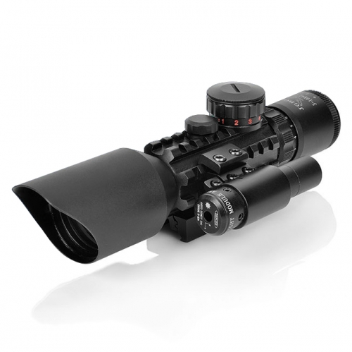Tactical Rifle 3~10x42E Red Dot Laser Sight Scope Fit Picatinny Rail