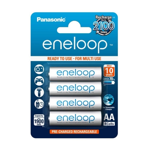 Panasonic Eneloop AA 2100 Cycle Ni-MH Pre-Charged Rechargeable Batteries, Pack of 4