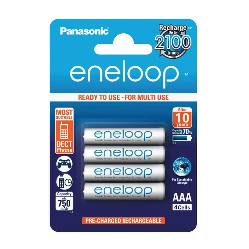 Panasonic Eneloop AAA 2100 Cycle Ni-MH Pre-Charged Rechargeable Batteries, Pack of 4