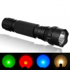 UltraFire Tactical Hunting Flashlight 501B Outdoor Torch Green/Red/Blue/Amber Light