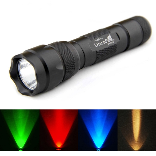 UltraFire Tactical Hunting Flashlight 502B Outdoor Torch Green/Red/Blue/Amber Light