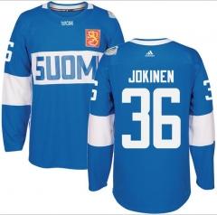 san francisco 81631 7b4d0 2016 Finland SUOMI Adidas  36 OLLI JOKINEN jerseys Blue White World Cup of  Hockey Premier Player Jersey ...