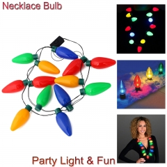 LED Light Up Flashing Jumbo Christmas Bulb Necklace Lamps Party Favors Fun