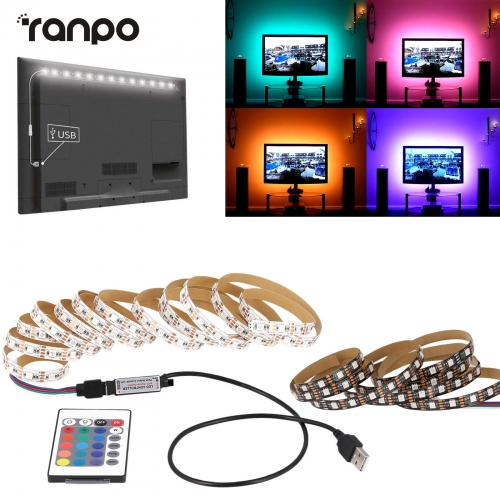 DC 5V 1M to 5M LED Strip RGB Light TV Back Lighting Kit + RF Remote Controller