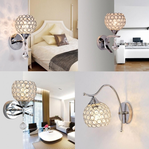 Silver Crystal LED Wall Lamp Sconce Light Home Bedroom Bedside Hallway Fixture