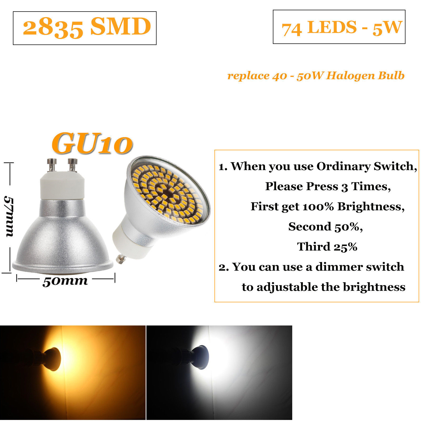 Dimmable Led Spotlight Bulb 5w Gu10 Mr16 2835 Smd 110v 220v Light Dimmer Description
