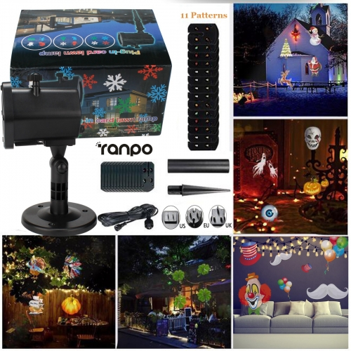 Waterproof Landscape Laser Projector Light 11 Patterns Outdoor Garden Xmas Lamp