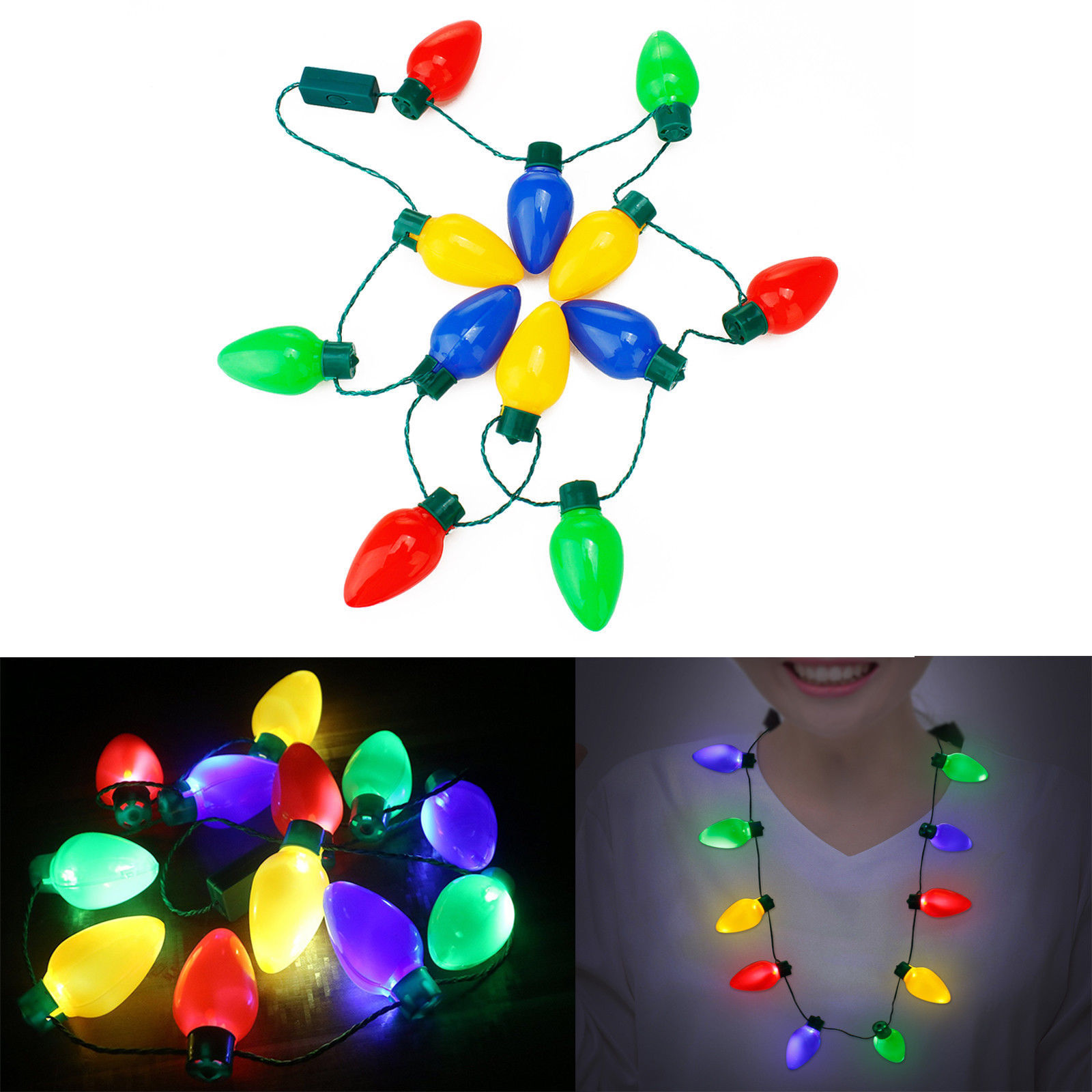 LED Christmas Lights Necklace Light Up Bulb for Wedding Party ...