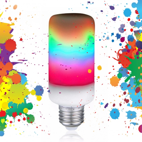 Ranpo Colorful E27 B22 E14 LED Rainbow Light Flame Effect Bulb Burning Flicker Lamps