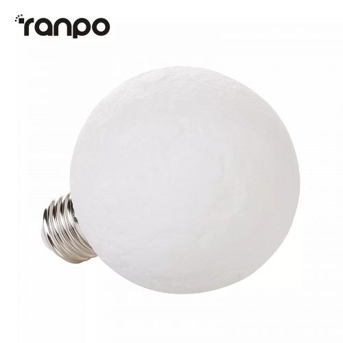Ranpo LED Moon Light Lamp E12 E27 3W 3D Printed Bulb 110V Warm White For Home Decor