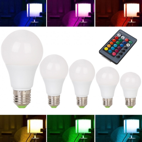 Ranpo Dimmable RGB LED Light Bulb 3W 6W 8W 10W 12W 16 Color Changing Magic Lamp Remote