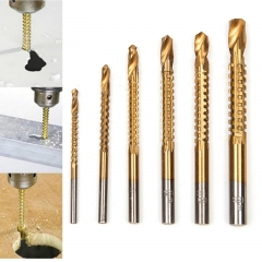 Ranpo 6PCS Coated Woodworking Wood Cutting Hole Cutter Saw Drill Bit Set HSS Titanium