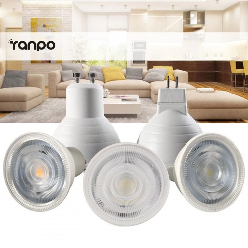 Ranpo Dimmable LED Spotlight COB GU10 MR16 GU5.3 7W Bulbs 24° Angle AC 110V 220V Light