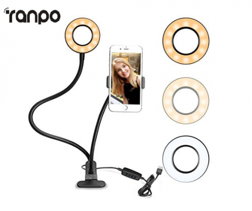 Ranpo LED Selfie Ring Light with Cell Phone Holder Stand for Live Streaming and Makeup