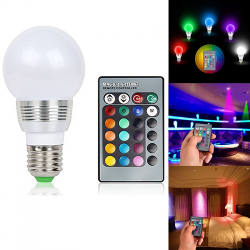 Ranpo  7W RGB Magic 16 Multi-Color Light Bulb E27 B22 Wireless Remote Control 85-265V  7W RGB Magic 16 Multi Color Light Bulb E27 B22 Wireless Remote