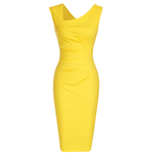 ec1cd1716e8b MUXXN Asymmetrical Neckline Sleeveless Business Pencil Dress
