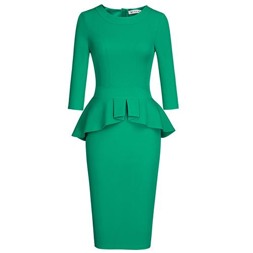 868c167fa06a MUXXN Women's Vintage 1950s Peplum Tea Length Formal Pencil Dress