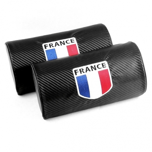 Flag of France Carbon Fiber Leather Seat Headrests