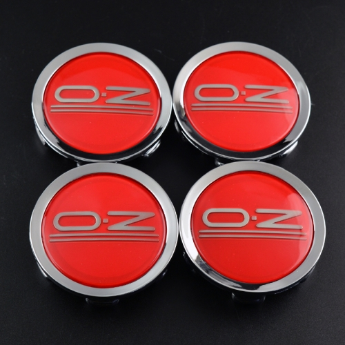 O.Z Wheel Center Caps 75mm Red Silver M608