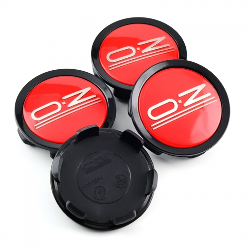 O.Z Wheel Center Caps 75mm Red Black M608