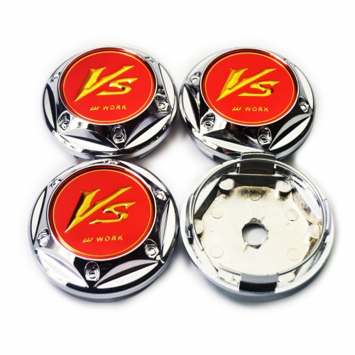 Vs WORK Wheel Center Caps 68mm(61mm) Red with 6 Decorative Screws